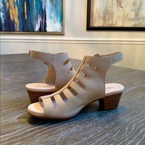 Clarks Valerie Strappy Sandals, 7M, Sand Nubuck